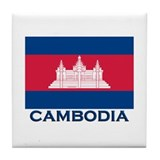 Cambodia Flag Merchandise Tile Coaster