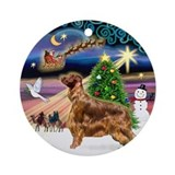 Xmas Magic &amp; Irish Setter (stand) Ornament (Round)