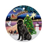 Xmas Magic & Newfoundland Ornament (Round)