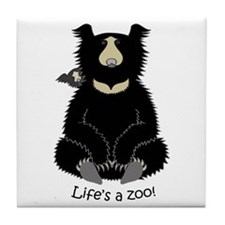Sloth Bear with Cub Tile Coaster