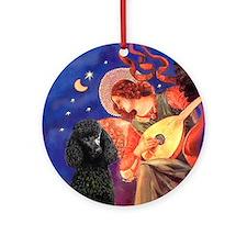 Mandolin Angel & Poodle (ST-blk) Ornament (Round)