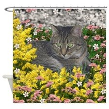 Mimosa Tiger Cat in Mimosa Flowers Shower Curtain