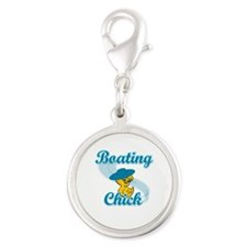 Boating Chick #3 Silver Round Charm