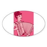 Retro Pink Lady With Accordion Rectangle Decal