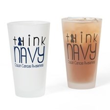 Think Navy Drinking Glass