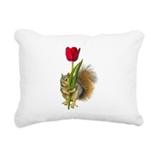 Squirrel Red Tulip Rectangular Canvas Pillow
