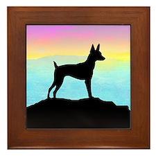 Cute Fox terrier breed art Framed Tile
