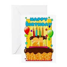 21st Birthday Card With Cake And Balloons