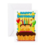 25th Birthday Greeting Card With Balloons And Cake