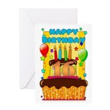 16th Birthday Greeting Card With Balloons And Cake