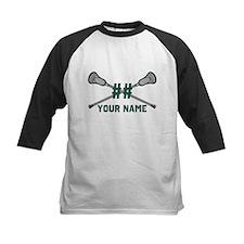 Personalized Crossed Lacrosse Sticks Green Tee