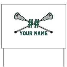 Personalized Crossed Lacrosse Sticks Green Yard Si