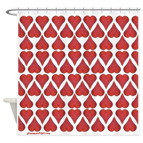 Strawberry Hearts Shower Curtain