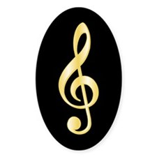 """Gold"" Treble Clef Oval Decal"