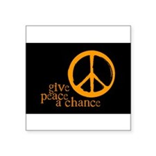 Give Peace a Chance - Orange Rectangle Sticker
