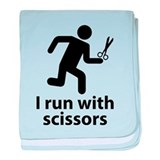 I run with scissors baby blanket