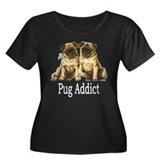 Pug Addict Women's Plus Size Scoop Neck Dark T-Shi