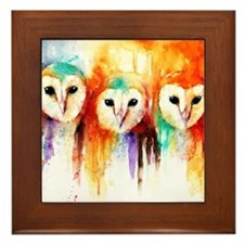 Row of Owls ~ Framed Tile