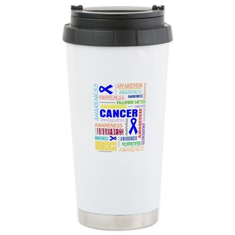 Rectal Cancer Awareness Collage Ceramic Travel Mug