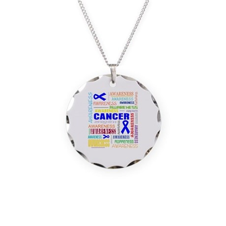 Rectal Cancer Awareness Collage Necklace Circle Ch