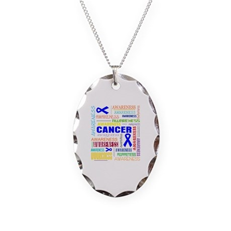 Rectal Cancer Awareness Collage Necklace Oval Char