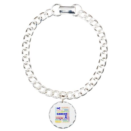 Rectal Cancer Awareness Collage Charm Bracelet, On