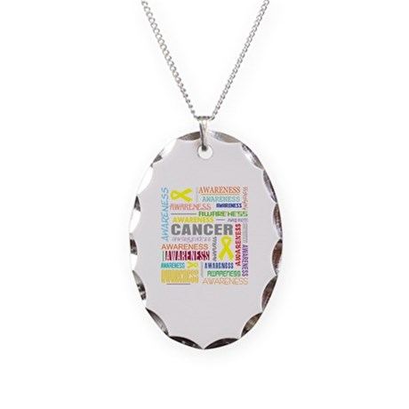 Sarcoma Awareness Collage Necklace Oval Charm