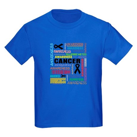 Skin Cancer Awareness Collage Kids Dark T-Shirt