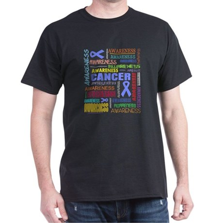 Stomach Cancer Awareness Collage Dark T-Shirt