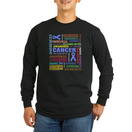 Stomach Cancer Awareness Collage Long Sleeve Dark