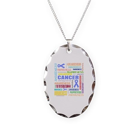 Stomach Cancer Awareness Collage Necklace Oval Cha