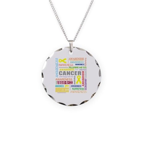 Testicular Cancer Awareness Collage Necklace Circl