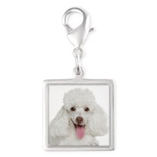 Poodle Mom Silver Square Charm