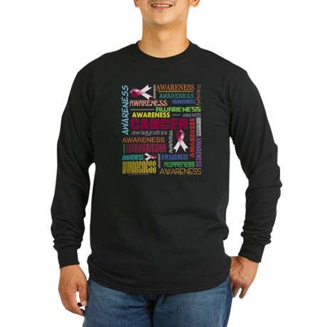 Throat Cancer Awareness Collage Long Sleeve Dark T