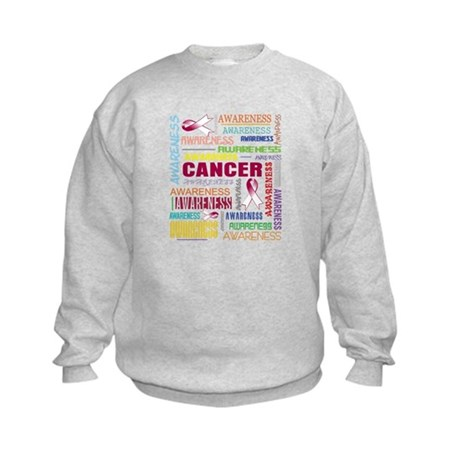 Throat Cancer Awareness Collage Kids Sweatshirt