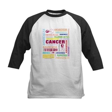 Throat Cancer Awareness Collage Kids Baseball Jers