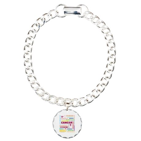 Throat Cancer Awareness Collage Charm Bracelet, On