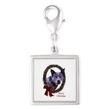 Australian Cattle Dog Silver Square Charm
