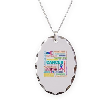 Thyroid Cancer Awareness Collage Necklace Oval Cha