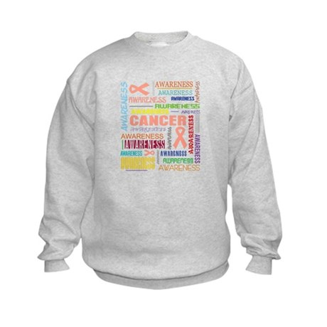 Uterine Cancer Awareness Collage Kids Sweatshirt