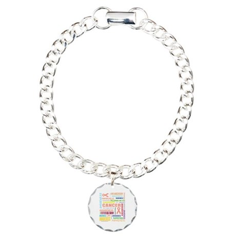 Uterine Cancer Awareness Collage Charm Bracelet, O