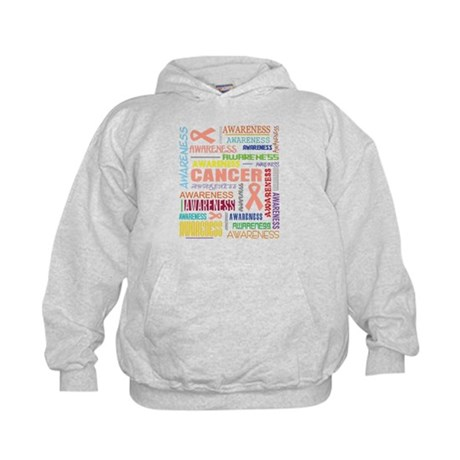 Endometrial Cancer Awareness Collage Kids Hoodie