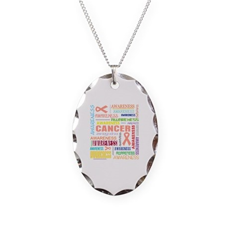 Endometrial Cancer Awareness Collage Necklace Oval