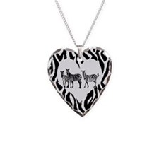 Necklace Heart Charm ZEBRAS AND HEARTS