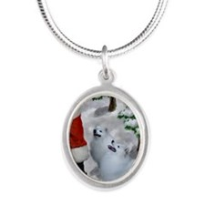 American Eskimo Dog Silver Oval Necklace