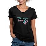 TEALkled Pink Women's V-Neck Dark T-Shirt