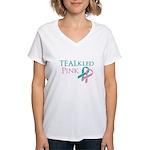 TEALkled Pink Women's V-Neck T-Shirt