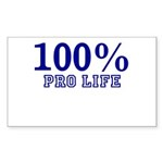 100% Pro life Sticker (Rectangle 10 pk)