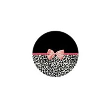 Leopard Pattern Pink Ribbon Mini Button (10 pack)