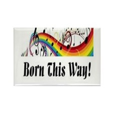 Rainbow born this way musical notes Rectangle Magn